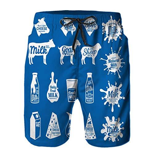 saletopk Hombres Playa Bañador Shorts,Vector Queso Leche Logo Productos lácteos,Traje de baño con Forro de Malla de Secado rápido S