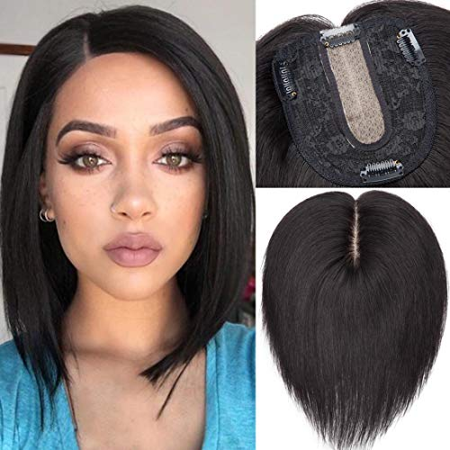 """S-noilite Silk Base Topper Human Hair Piece Clip in Crown Toupee Top Hair Extensions Silk Topper for Women Replacement for Slight Hair Loss Thinning Hair 130% Density (12""""-40g,#1B Natural Black)"""