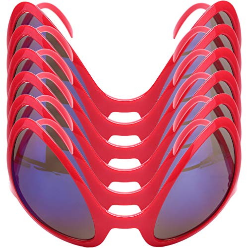 6 PCS Alien Glasses - MeiMeiDa Cool Alien Glasses Funny Sunglasses Costume Accessories Toys Photo Props, Novelty Red Eyeglasses Halloween Party Favors for Kids, Men and Women
