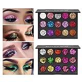 Ownest 30 Colors Glitter Eyeshadow Palette,Diamond Shimmer Eyeshadow Set Glitter Eyeshadow Makeup Palette,Colorful Waterproof Long Lasting Eyeshadow Plaette(2 pcs)