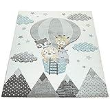 Kinderzimmer Teppich Blau Grau Heißluftballon Wolken Tiere 3-D Design Pastell, Grösse:160x230 cm