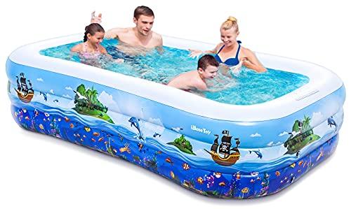 iBaseToy Aufblasbarer Pool - Groß Planschbecken für Kinder, Erwachsene, Babys und Kleinkinder, Family Pool Schwimmbecken für Outdoor, Garten, Sommerwasserparty - Aufblasbarer Kinderpool