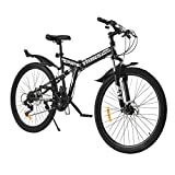 "VIRIBUS 21 Speed Mountain Bike w Dual Disc Brakes | 26"" All-Terrain Bicycle w Full Suspension Adjustable Seat Fenders | 26er MTB w Carbon Steel Frame | Adult Road & Offroad Folding Bike for Men Women"