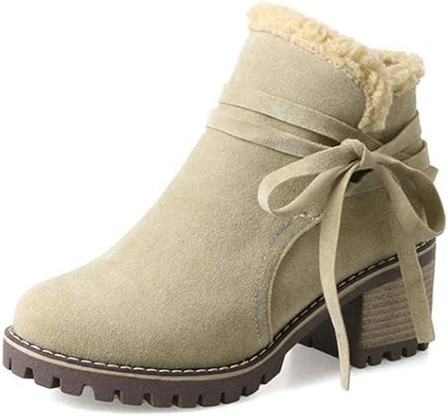 botas de las mujeres, botines de las mujeres más terciopelo para mantener cálido grueso medio talón rojoondo dedo del pie Slip on botas (3 Colors)