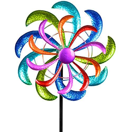 Formano Colorido molinillo de viento, 124 x 30 cm, para jardín, carillón de viento, decoración de jardín