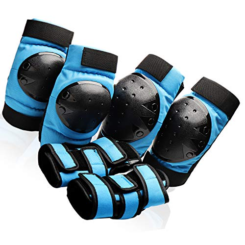 Protective Gear Set for Youth/Teens Elbow Pads Wrist Guards Knee Pads for Inline Roller Skating BMX Bicycle Scootering Skateboarding Rollerblading Cycling Bike (Blue, Large)