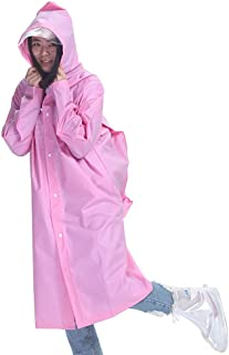 レインコート 大人の長いエヴァ屋外ハイキングセット防水ユニセックス厚いレインコートポンチョグリーン透明帽子レインコートバッグ付き(オプションのM-XLコード) 成人用レインコート (色 : ピンク, サイズ さいず : XL)