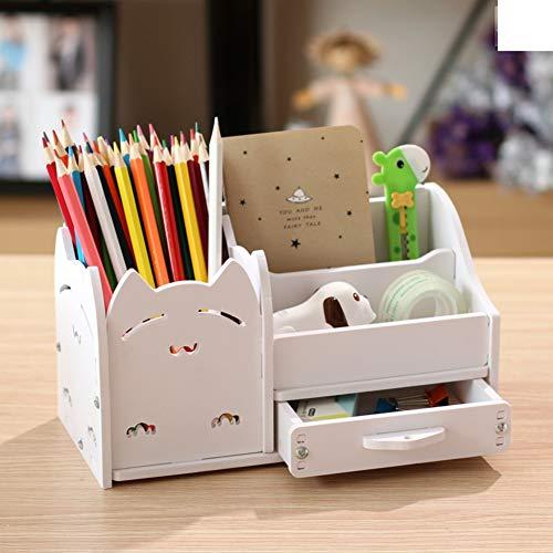 Multi-funktions Stifthalter, Kreativstift veranstalter student süße schreibwaren schreibtisch organizer büro stift bleistift halterschale-weiße Katze 22x11x12cm(9x4x5inch)