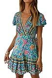 Vestidos Mujer Bohemio Corto Florales Verano Playa Fiesta Vestido Casual Magas Cortas Cuello en V Noche Playa Vacaciones 2 XL