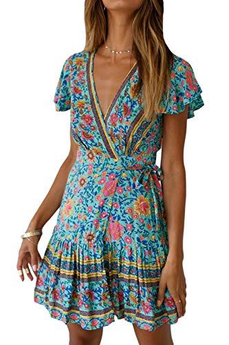 Vestidos Mujer Bohemio Corto Florales Verano Playa Fiesta Vestido Casual Magas Cortas Cuello en V Noche Playa Vacaciones
