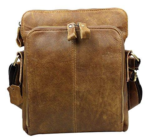 Genda 2Archer Borsello Uomo spalla del cuoio genuino dell'ufficio del sacchetto Messenger Bag (Marrone)