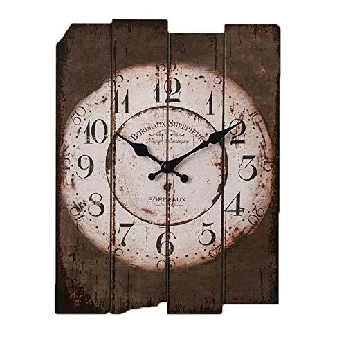 LCSD Reloj de pared creativo de la personalidad retro de madera de estilo industrial decoración del hogar silencio bar restaurante cafetería 30 x 39 cm cuadrado