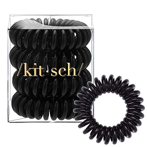 Kitsch Spiral Hair Ties, Coil Hair Ties, Phone Cord Hair Ties, Hair Coils - 4pcs, Black