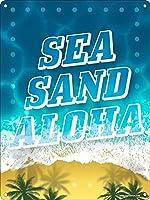 海、砂、アロハ 金属板ブリキ看板警告サイン注意サイン表示パネル情報サイン金属安全サイン