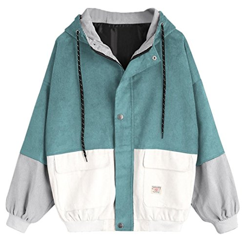 Gyoume Women Jackets Coat Long Sleeve Hoodies Corduroy Patchwork Oversize Zipper Jacket Windbreaker Coat Overcoat Blue