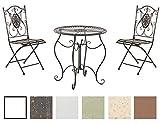 CLP Ensemble de Jardin Aldeano en Fer - Table et 2 Chaises Pliables Design Antique Nostalgique - Meubles de Jardin - Set de Jardin - Couleur: Bronze