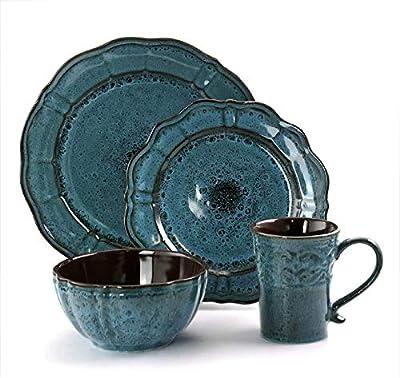 Huzmirg Lavish Blue Round Stoneware Dinnerware Sets 2324