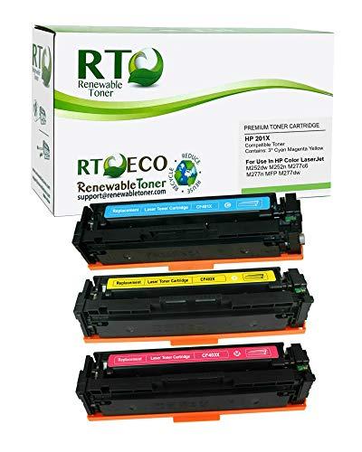 Renewable Toner Compatible Toner Cartridge Replacement for HP 201X CF401X CF402X CF403X Color Laserjet Pro MFP M277n M252 (Cyan, Magenta, Yellow, 3-Pack)