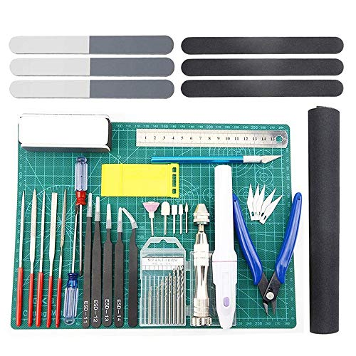 Moligh doll 33 StüCke Model Werkzeug Kit Modeler Grundlegende Werkzeuge Bastel Set Hobby BAU Werkzeuge Kit für die Reparatur und Befestigung Von Gundam Auto Model Geb?Ude
