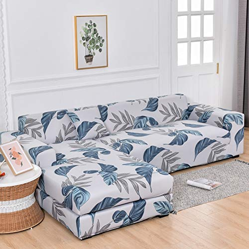 L-shaped corner sofa cover, dustproof and washable elastic living room printing cover sofa cover elastic A24 3 seater