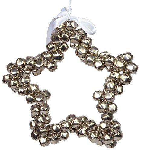 CHICCIE Couronne en forme d'étoile avec cloches Argenté 35 cm