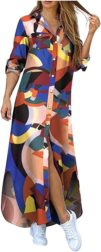 Shirt Dresses for Women Long Sleeve Button Down Side Slite Maxi Dress Plus Size Printed Outwear with Pockets