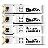SFP to RJ45 for Cisco GLC-T GLC-TE SFP-GE-T Ubiquiti UF-RJ45-1G 1000Base-T SFP Mini-GBIC Transceiver Module, Copper, 100m, Pack of 4