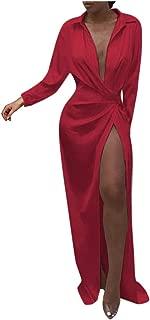 Big Sale BBesty Women Deep V Solid Wrap Ruched Long Sleeve Nightclub Dress,Travel,Work,Casual
