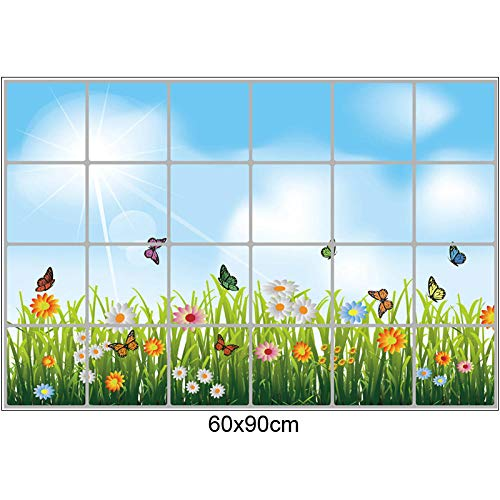 Papel pintado 60 x 90 cm / 24 x 36 in cocina pegatinas de pared antiaceite flor hierba mariposa azulejos decoración pared autoadhesivo Home Decor