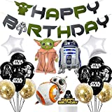 20 Pcs Star Wars Birthday Decorations, Star Wars Party Decor Kit for Boys, Star Wars Party Supplies Bundle Includes Yoda Happy Birthday Banner/Space Alien Balloons/Star Wars Latex Balloons/Cake Topper