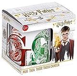 Stor Taza Ceramica 325 ML. Harry Potter Houses EN Caja Regalo, Negro, único