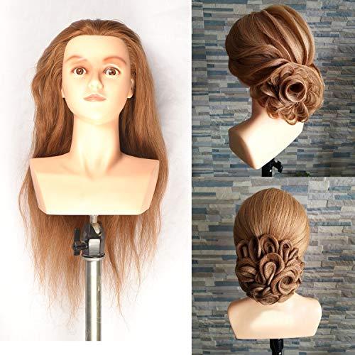 Têtes D'exercice Tête À Coiffer 100% Cheveux Naturel Coiffure Cosmétologie Pratique Mannequin Poupée épaule 22 inches