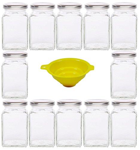 Viva Haushaltswaren - 12 x eckiges Marmeladenglas / Gewürzglas 260 ml mit silberfarbenem Schraubverschluss, Gläser Set mit Deckel als Einmachgläser, Vorratsdose etc. verwendbar (inkl. Trichter)