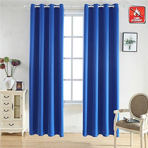 "BEGOODTEX Flame Retardant Blackout Curtains,Royal Blue (52"" Wx95 L) 1 Panel"