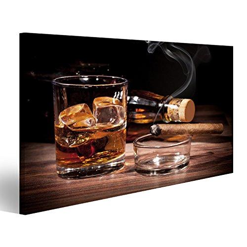 islandburner Quadro Moderno Whiskey Sigaro Stampa su Tela - Quadro x poltrone Salotto Cucina mobili Ufficio casa - Fotografica Formato XXL