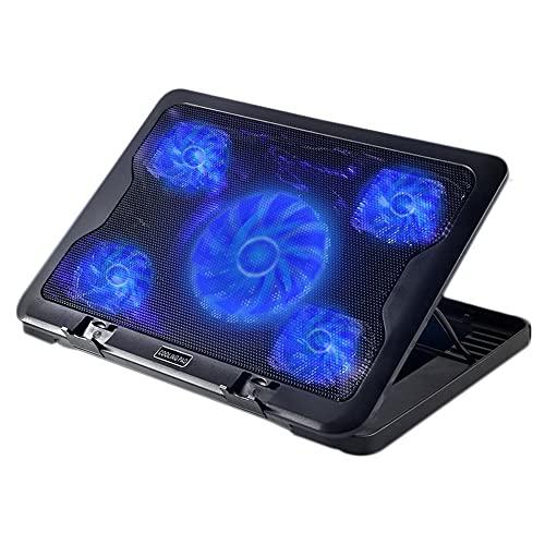 Feicuan Tappetino di Raffreddamento per Laptop da Gioco da 10-17 Pollici Notebook Cooler, Supporto per Laptop con 5 ventole di Raffreddamento luci a LED Blu e 2 Porte USB, 6 Altezze di Regolazione