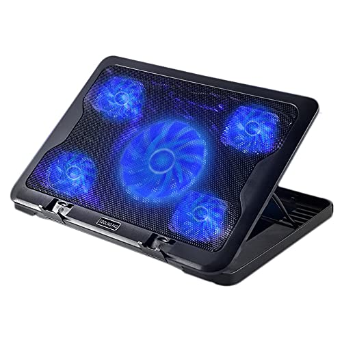 Feicuan Laptop Cooling Pad Notebook Cooler Base de refrigeración para portátil con Soporte 5 Ventiladores silenciosos y luz LED Azul, 2 Puertos USB, 6 ángulo Ajustable para Gaming Trabajo en casa