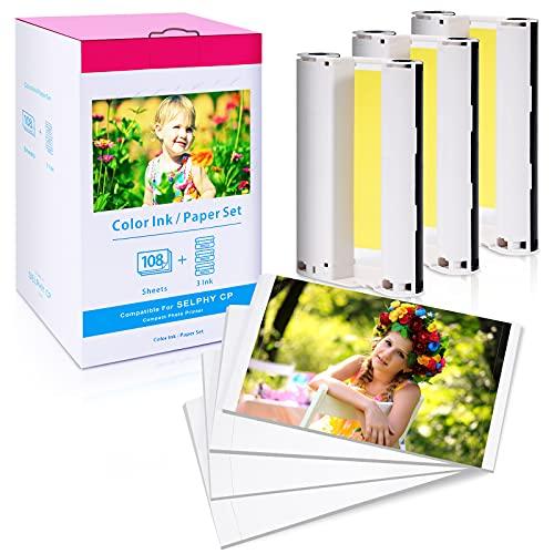 Papel fotográfico con 3 cartuchos de color, cartucho de impresora y papel de repuesto para Canon KP-108IN 3115B001(AA), papel fotográfico 100 x 148 mm para Selphy CP Serie