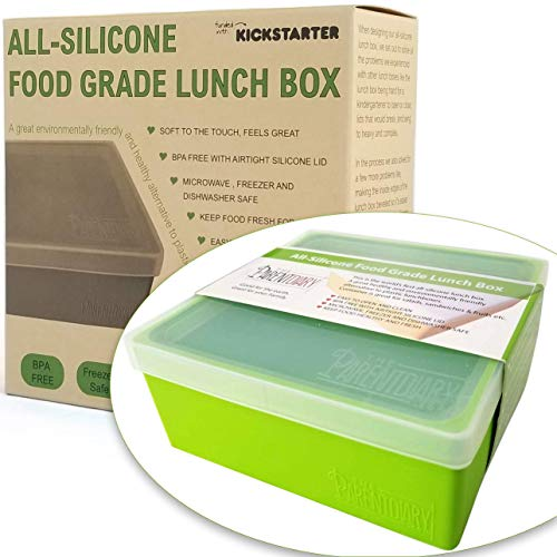 Eco Lunch box for Kids and Adults | All Silicone Lunch Containers with Dividers | Kids lunch container | Microwave, Dishwasher and Freezer Safe | The Parent Diary (Green, Single Compartment)