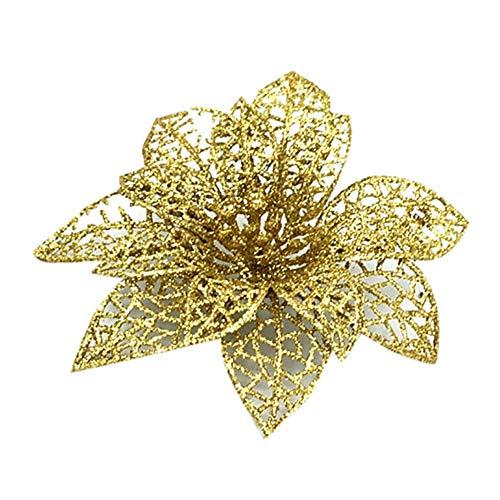 Julstjärna konstgjord julblommor dekoration, glitter julblomma, ihålig glitter julblomma, julstjärna julgran hängande dekor prydnad för bröllop, julfest (rosa, 5)
