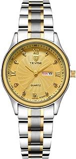 Ladies Waterproof Gold Plated Stainless Steel Quartz Wrist Watch for Women