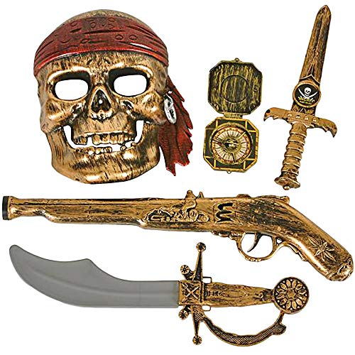 ArtCreativity Pirate Play Set for Kids, 5PC Playset with Plastic Sword, Pistol, Dagger, Compass, and Mask, Pirate Halloween Costume Accessories and Photo Booth Props, Fun Pretend Play Set