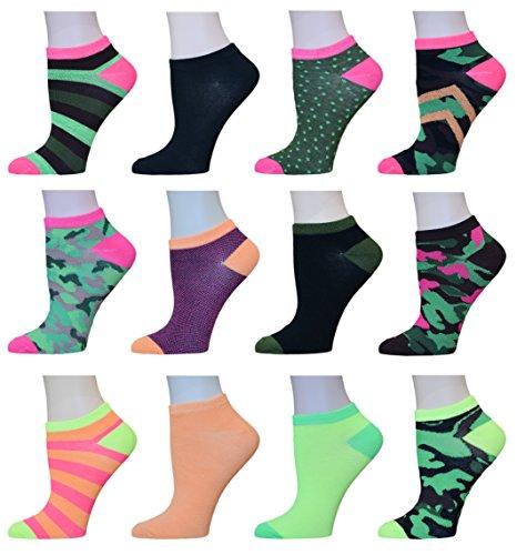 Yung & Phree Womens No Show Summer Socks Casual Bright Fun Fashion Patterns - 12 Pair
