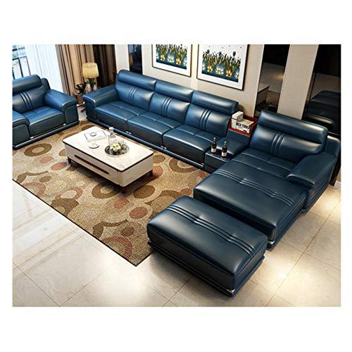 Winpavo Sofas & Couches Sofa Corner Sofa Set Living Room Sofa Set Corner Sofa Real Genuine Cow Leather 5 Seats Sectional Sofas Minimalist Muebles De Sala Moveis Para-Top Real Leather