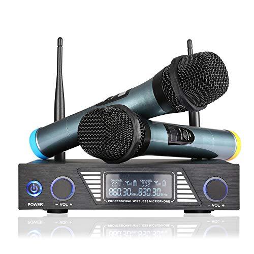 Micrófono inalámbrico UHF EXJOY Micrófono dinámico dual Sistema de micrófono inalámbrico de karaoke de mano para fiestas, reuniones, bodas, clases, uso en la iglesia