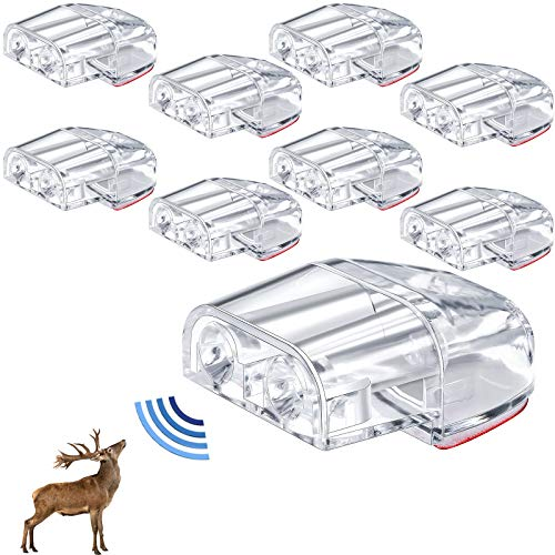 BBTO 8 Pieces Deer Whistles for Car Truck Motorcycle Vehicles Dual Construction Deer Warning Devices Deer Horn Repellent Animal Alert Save a Deer Whistles with 16 Pieces Adhesive Tapes, Clear