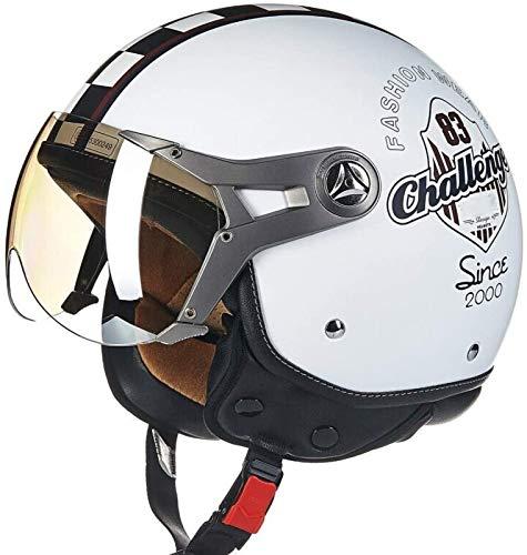 Casco Jet Casco De Motocicleta Casco Retro De Motocicleta Harley con Visera para El Sol Casco Jet con Certificación Dot/ECE 3/4 Casco De Cara Abierta Casco De Seguridad para Adultos,B-M=(57~58cm)