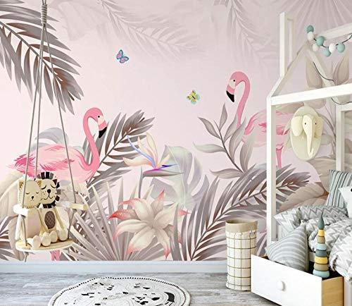 Nomte behang foto hand getrokken Scandinavische tropische palmboom plant Flamingo Indoor achtergrond muur muurschilderingen 3D behang 400x280cm