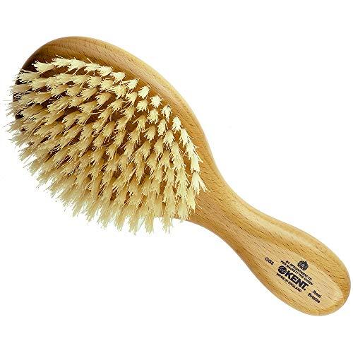 Kent OG3 Finest Men's Hair Brush and Facial Brush for Beard Care - 100% Natural White Boar Bristle Brush for Mens Grooming, Scalp Brush, 360 Wave, and Beard Straightener For Men's Hair Care