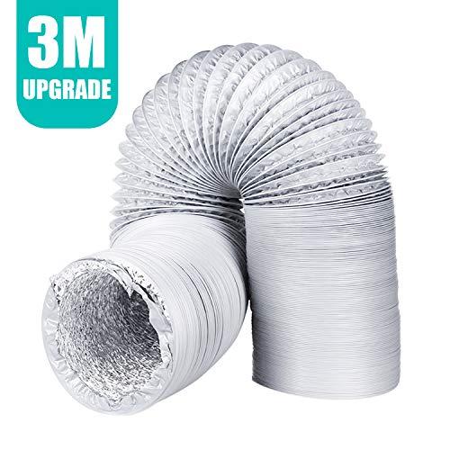 H HOMEWINS Abluftschlauch ø125mm*3m Flexibel PVC Abluftrohr mit Aluminiumfolie Wärmeisolierung Alurohr Lüftungsschlauch für Wäschetrockner Abluftventilator Abzugshaube Hydroponik